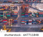 container ship in import export ... | Shutterstock . vector #647711848