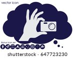 hand and photo camera icon...