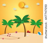 summer time   beach and coconut ... | Shutterstock .eps vector #647747050