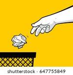 Man Hand Throwing Crumpled...