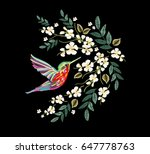 Stock vector embroidery colorful floral pattern with japanese flowers hummingbird vector traditional folk 647778763