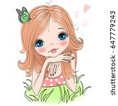 hand drawn beautiful cute girl... | Shutterstock .eps vector #647779243