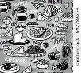 monochrome seamless pattern food | Shutterstock .eps vector #647786374