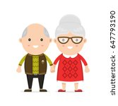 old man and woman  grandmother... | Shutterstock .eps vector #647793190