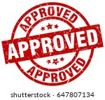 approved round red grunge stamp | Shutterstock .eps vector #647807134