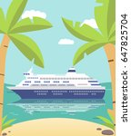 the cruise liner at the coast... | Shutterstock .eps vector #647825704