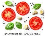 tomato  garlic and basil... | Shutterstock . vector #647837563