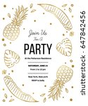 tropical party invitation with... | Shutterstock .eps vector #647842456