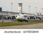 Small photo of 18 May 2017 Antonov AN225 Mriya, Landed at Milano Malpensa Airport in Italy. This is the biggest airplane of the world, it is a strategic airlift cargo aircraft designed by the Antonov Design Bureau.