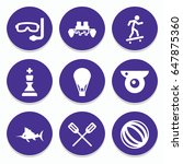 set of 9 sport filled icons... | Shutterstock .eps vector #647875360