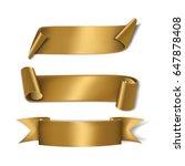 set gold ribbons. vector... | Shutterstock .eps vector #647878408