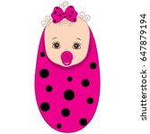 Vector Cute Baby Girl Wrapped...