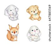 Stock photo set of cute baby animals teddy bear bunny elephant squirrel 647885569