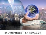 double exposure of businessman... | Shutterstock . vector #647891194