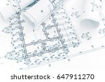 construction plan  rolls of...   Shutterstock . vector #647911270
