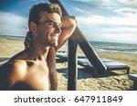 handsome smiling man outdoor on ... | Shutterstock . vector #647911849