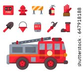 fire safety equipment emergency ... | Shutterstock .eps vector #647918188
