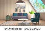 interior living room. 3d... | Shutterstock . vector #647923420