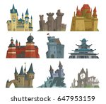 cartoon fairy tale castle key... | Shutterstock .eps vector #647953159