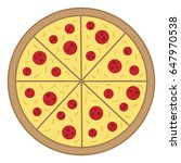 whole round pizza vector... | Shutterstock .eps vector #647970538