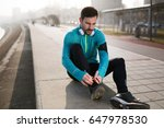 sportsman fitness exercising... | Shutterstock . vector #647978530