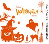 set of halloween icons.... | Shutterstock . vector #647979790