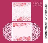 laser cut wedding invitation... | Shutterstock .eps vector #647986930