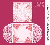 laser cut wedding invitation... | Shutterstock .eps vector #647986954