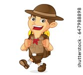 boy scout cartoon walking and... | Shutterstock .eps vector #647988898