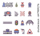 train railroad icons set.... | Shutterstock .eps vector #647989276