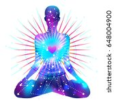 human silhouette meditating or... | Shutterstock .eps vector #648004900
