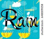rain vector seamless pattern...   Shutterstock .eps vector #648009058
