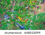 roadside colorful ribbon...   Shutterstock . vector #648010099