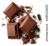 milk chocolate pieces isolated... | Shutterstock . vector #648010603