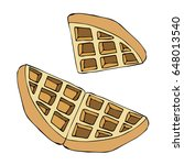 waffle on white background... | Shutterstock .eps vector #648013540