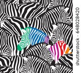 black and colorful zebra... | Shutterstock .eps vector #648028420
