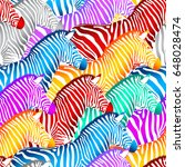 Colorful Zebra Seamless Patter...