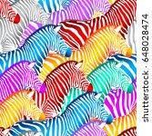 colorful zebra seamless pattern.... | Shutterstock .eps vector #648028474