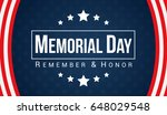 memorial day   remember and... | Shutterstock .eps vector #648029548