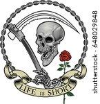 skull tattoo. life is short  | Shutterstock .eps vector #648029848