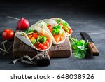 mexican tacos with spicy... | Shutterstock . vector #648038926