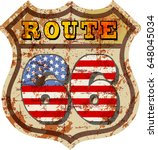 vintage route sixty six road... | Shutterstock .eps vector #648045034