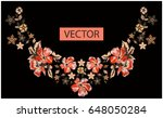 embroidery ethnic flowers neck... | Shutterstock .eps vector #648050284