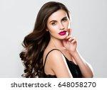 beauty woman face portrait.... | Shutterstock . vector #648058270