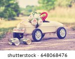 wedding toy car with stringed...   Shutterstock . vector #648068476