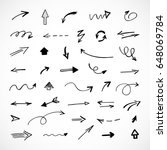 hand drawn arrows  vector set | Shutterstock .eps vector #648069784