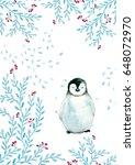 watercolor penguin rosette... | Shutterstock . vector #648072970
