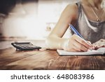 woman hand with pen and kitchen ... | Shutterstock . vector #648083986
