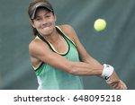 Small photo of HUA HIN, THAILAND-MAY 11:Michaela Haet of Australia returns a ball during Day 4 of ITF Thailand Women's Pro Circuit on May 11, 2017 at True Arena Hua Hin in Hua Hin, Thailand