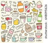 set of cute beverages doodle | Shutterstock .eps vector #648095626